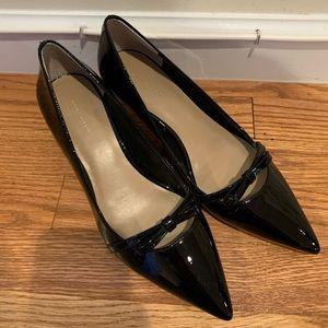 Ann Taylor Black Patent Leather Kitten Heels